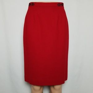 Bright red wool pencil skirt size 6